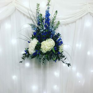 blue and white large wedding event centrepiece