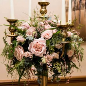 blush pink wedding centrepiece