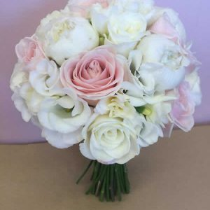 brides bouquet white peonies