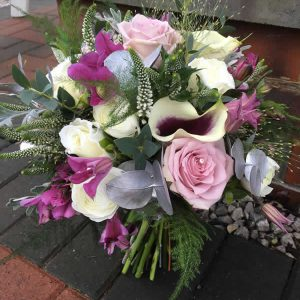 brides plum wedding bouquet