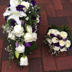 brides purple fresh wedding bouquet