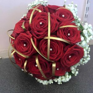 brides red rose wedding bouquet