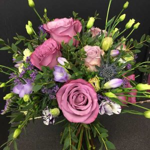 brides rustic purple wedding flowers