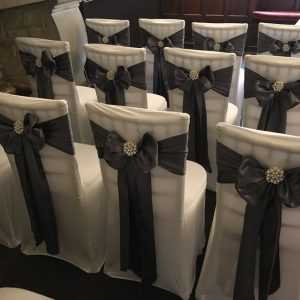 grey satin chair sash hire