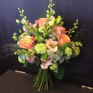 peach relaxed style wedding bouquet